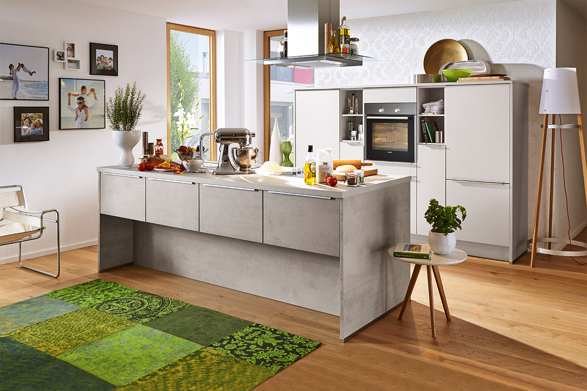 nobilia riva beton seidengrau mit siemens ger ten. Black Bedroom Furniture Sets. Home Design Ideas