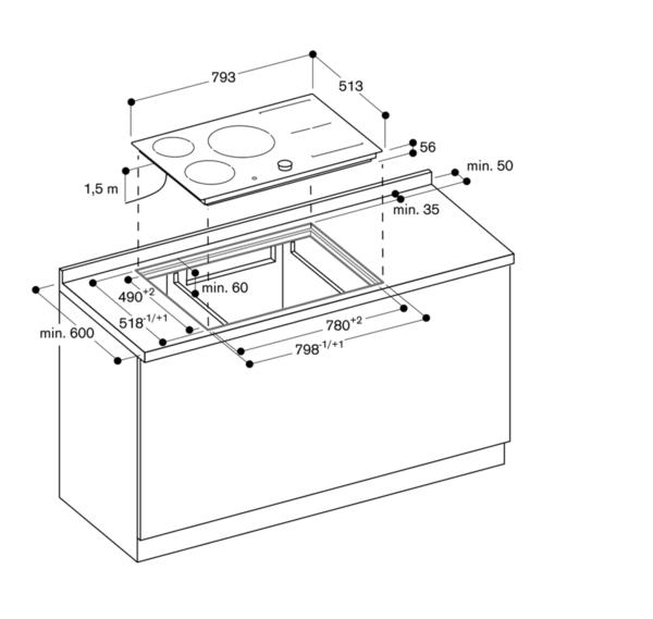 ci483100 flex induktionskochfeld rahmenlos breite 80 cm. Black Bedroom Furniture Sets. Home Design Ideas