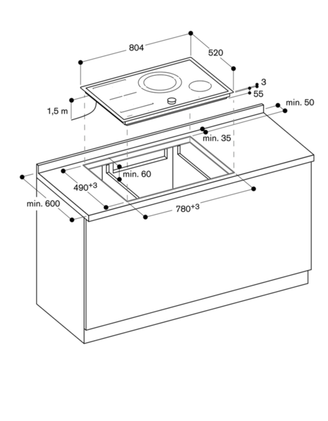 ci282110 flex induktionskochfeld serie 200 edelstahlrahmen breite 80 cm. Black Bedroom Furniture Sets. Home Design Ideas