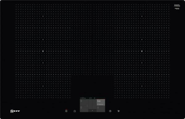 Bedienung:   TFT Touch-Display   Flexibilität:   2 x Flexzone  Erweiterte Flexzone  4 Induktionskochzonen   Ausstattung:   Powerstufe für Töpfe  PowerMove  PowerTransfer  Bratsensor mit 5 Temperaturstufen: Braten mit integriertem Sensor für Alle Flex-Zonen  Kochsensor  17 Leistungsstufen  Speisenkategorien  2-stufige Restwärmeanzeige je Kochzone  Warmhaltefunktion für alle Kochzonen  CountUp Timer  Kurzzeitwecker  Laufzeitanzeige  Topferkennung  Powermanagement Funktion  Automatische Sicherheitsabschaltung  Kindersicherung  Wischschutzfunktion  Restart Funktion  Energieverbrauchsanzeige  Kochfeldbasierte Haubensteuerung (mit passender Haube)   Design:   80 cm breit  Ohne Rahmen