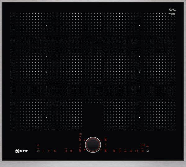 Bedienung:   TwistPad® Fire   Flexibilität:   2 x Flexzone  Erweiterte Flexzone  4 Induktionskochzonen   Ausstattung:   Powerstufe für Töpfe  Powerstufe für Pfannen  PowerMove  PowerTransfer  Bratsensor mit 5 Temperaturstufen: Braten mit integriertem Sensor für Alle Flex-Zonen  17 Leistungsstufen  Digitale Anzeige der Kochstufen  2-stufige Restwärmeanzeige je Kochzone  CountUp Timer  Kurzzeitwecker  Laufzeitanzeige  Topferkennung  Powermanagement Funktion  Automatische Sicherheitsabschaltung  Kindersicherung  Wischschutzfunktion  Restart Funktion  Quick Start Funktion  Kochfeldbasierte Haubensteuerung (mit passender Haube)   Design:   60 cm breit  Designrahmen in Edelstahl  Kombinierbar mit Glaskeramik-Kochstellen im Facetten-Design   Technische Information:   Einbaumaße: (H/B/T) 56 mm x 560 mm x 490 mm  Gerätemaße: (H/B/T) 56 x 606 x 546 mm  Min. Arbeitsplattenstärke: 30 mm  Kochzonen: 1 x Ø 380 mmx230 mm