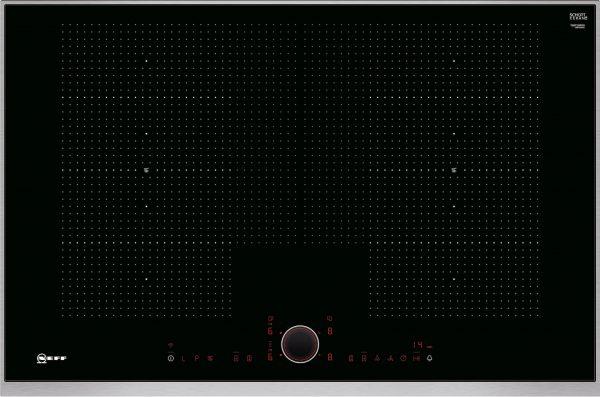 Bedienung:   TwistPad® Fire   Flexibilität:   2 x Flexzone  Erweiterte Flexzone  4 Induktionskochzonen   Ausstattung:   Powerstufe für Töpfe  Powerstufe für Pfannen  PowerMove  PowerTransfer  Bratsensor mit 5 Temperaturstufen: Braten mit integriertem Sensor für Alle Flex-Zonen  17 Leistungsstufen  Digitale Anzeige der Kochstufen  2-stufige Restwärmeanzeige je Kochzone  Warmhaltefunktion für alle Kochzonen  CountUp Timer  Kurzzeitwecker  Laufzeitanzeige  Topferkennung  Powermanagement Funktion  Automatische Sicherheitsabschaltung  Kindersicherung  Wischschutzfunktion  Restart Funktion  Quick Start Funktion  Energieverbrauchsanzeige  Kochfeldbasierte Haubensteuerung (mit passender Haube)   Design:   80 cm breit  Designrahmen in Edelstahl  Kombinierbar mit Glaskeramik-Kochstellen im Facetten-Design   Technische Information:   Einbaumaße: (H/B/T) 51 mm x 750 mm x 490 mm  Gerätemaße: (H/B/T) 51 x 826 x 546 mm  Min. Arbeitsplattenstärke: 30 mm  Kochzonen: 1 x Ø 400 mmx230 mm