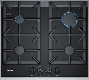 Bedienung:   Schwertknebel   Design:   Glaskeramik  Designrahmen in Edelstahl   Flexibilität:   4 Gas-Kochstellen